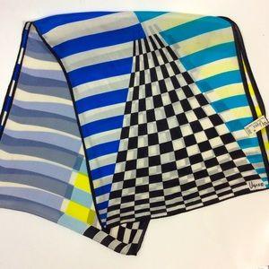 Vera Neumann Black Blue Checkerboard Silk Scarf